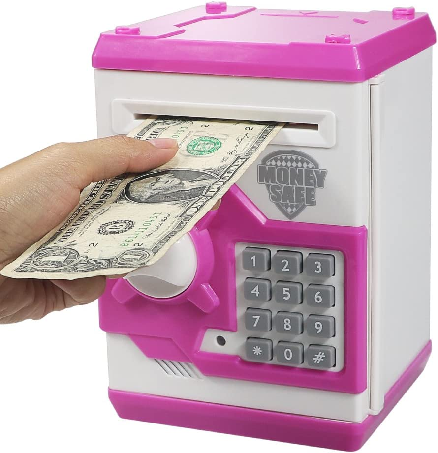 HUSAN Great Gift Toy for Kids Code Electronic Piggy Banks Mini ATM Electronic Save Money Coin Bank Box for Children Password Lock case (Pink)