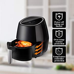 Air Fryer, Oilless Hot Air Fryer Oven with Detachable Basket, Temperature Control, Auto Shut Off & Timer, Cookbook, Dishwasher Safe, 1250W, 4.5L
