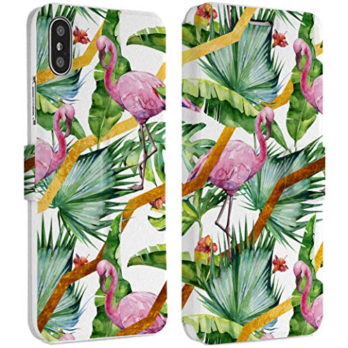 Wonder Wild Tropical Flamingo IPhone Wallet Case X/Xs Xs Max Xr Case 7/8 Plus 6/6s Plus Card Holder Accessories Smart Flip Clear Design Protection Cover Palm tree Jungle Nature Bloom Environment