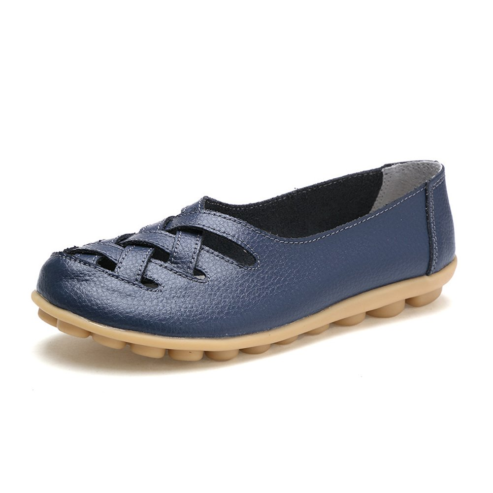 Ponyka Womens Cowhide Leather Loafers Flats Sandals Slip-On Shoes, Dark Blue, 10.5 B(M) US