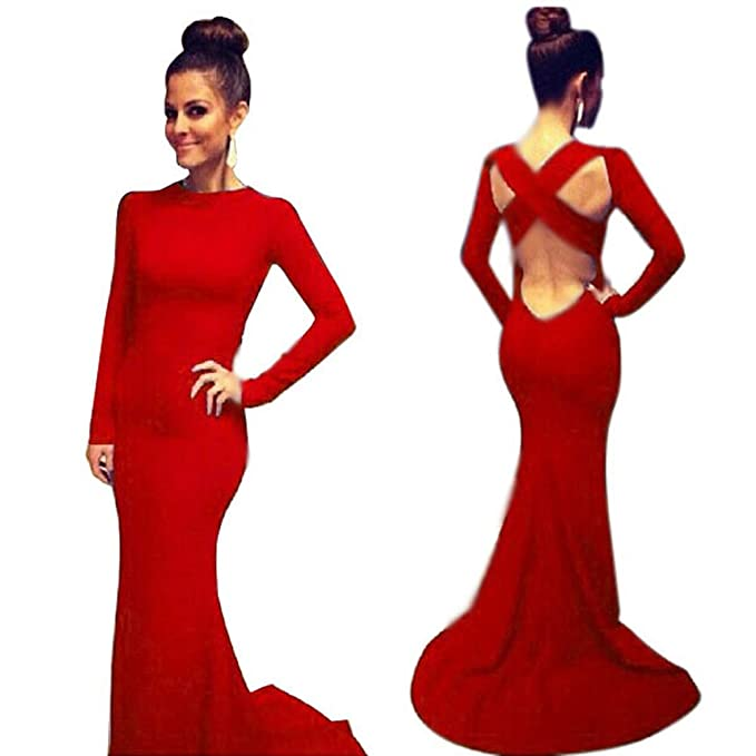 Amazon.com: ROPALIA Womens Formal Evening Gown Long Sleeve Prom Ball Cocktail Party Dress: Clothing