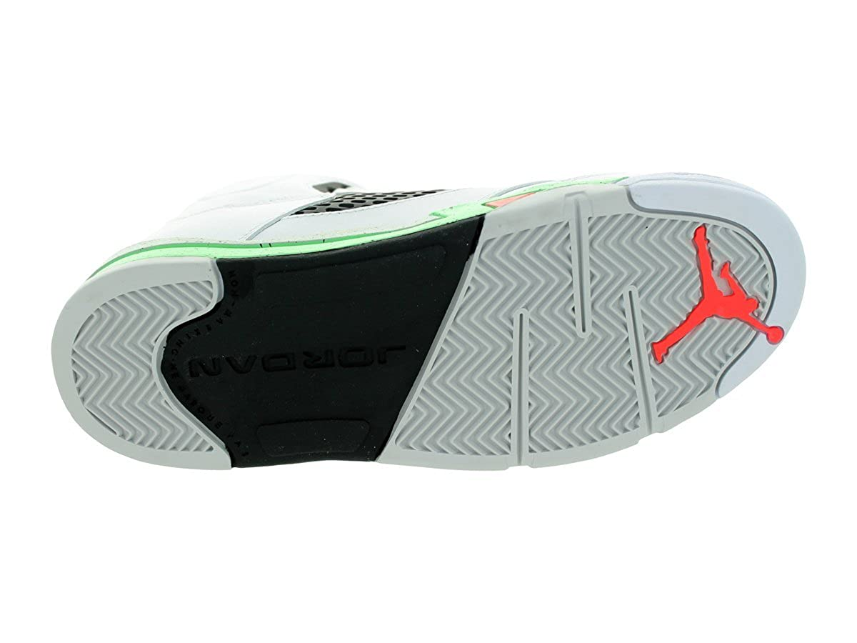 Jordan Nike Kids 5 Retro Bp Wht//Infrrd 23//Lt Psn Grn//Blck Basketball Shoe 2 Kids US