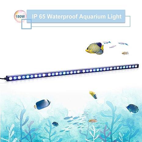 TOPLANET 180w Luz Acuario Led Tira Pecera Led Azul Iluminación Impermeable IP65 115cm para Fish Tank