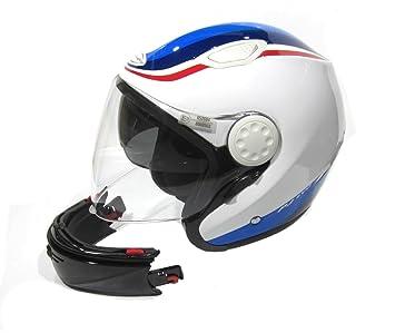 Casco para moto, doble homologación Jet e integral, con calota de fibra de vidrio
