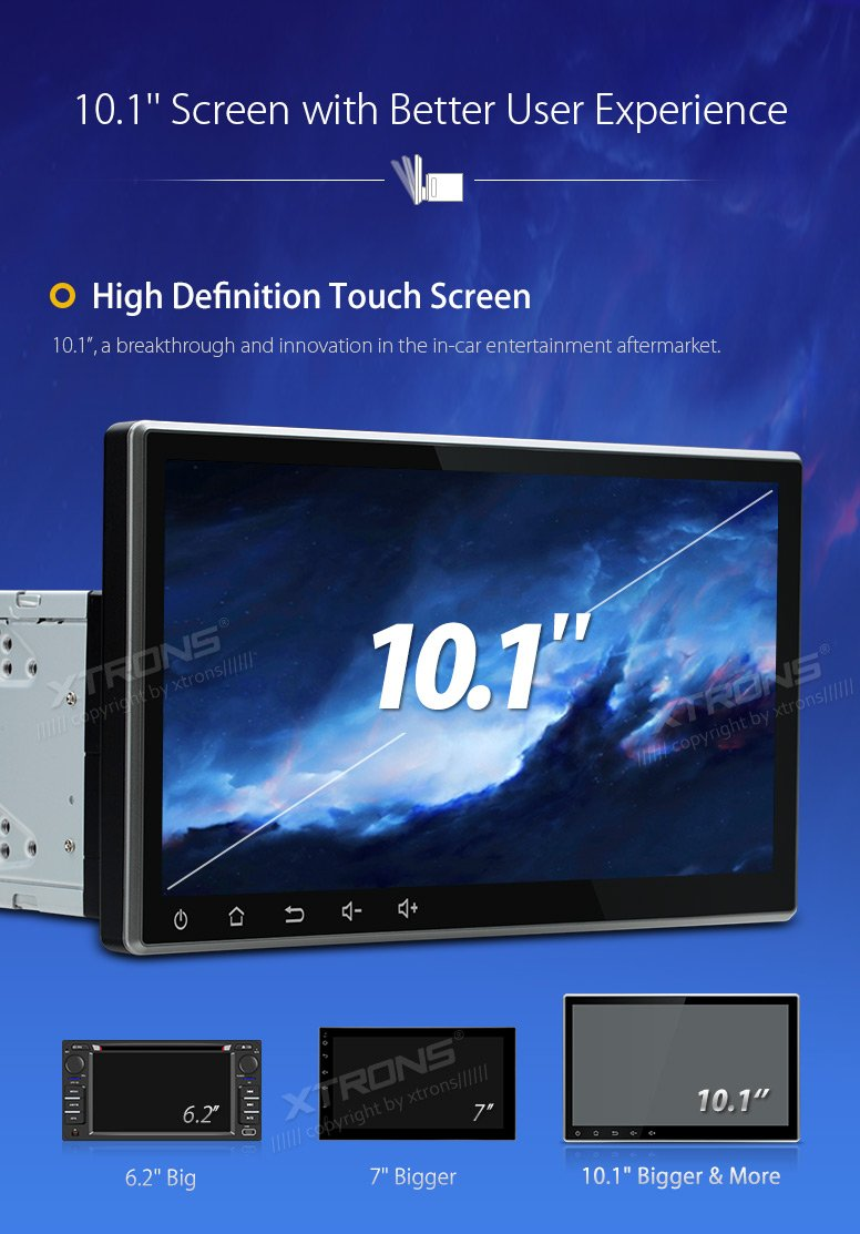 XTRONS 10 1 Inch Android 8 0 Double 2 Din Octa Core 4G RAM 32G ROM HD  Digital Multi-touch Screen Car Stereo GPS Radio DVD Player Adjustable  Viewing