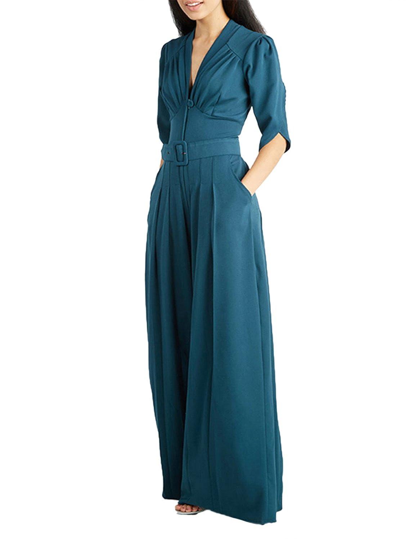 haoduoyi Women's Vintage Wrap V Neck Wide Leg Belted Jumpsuit