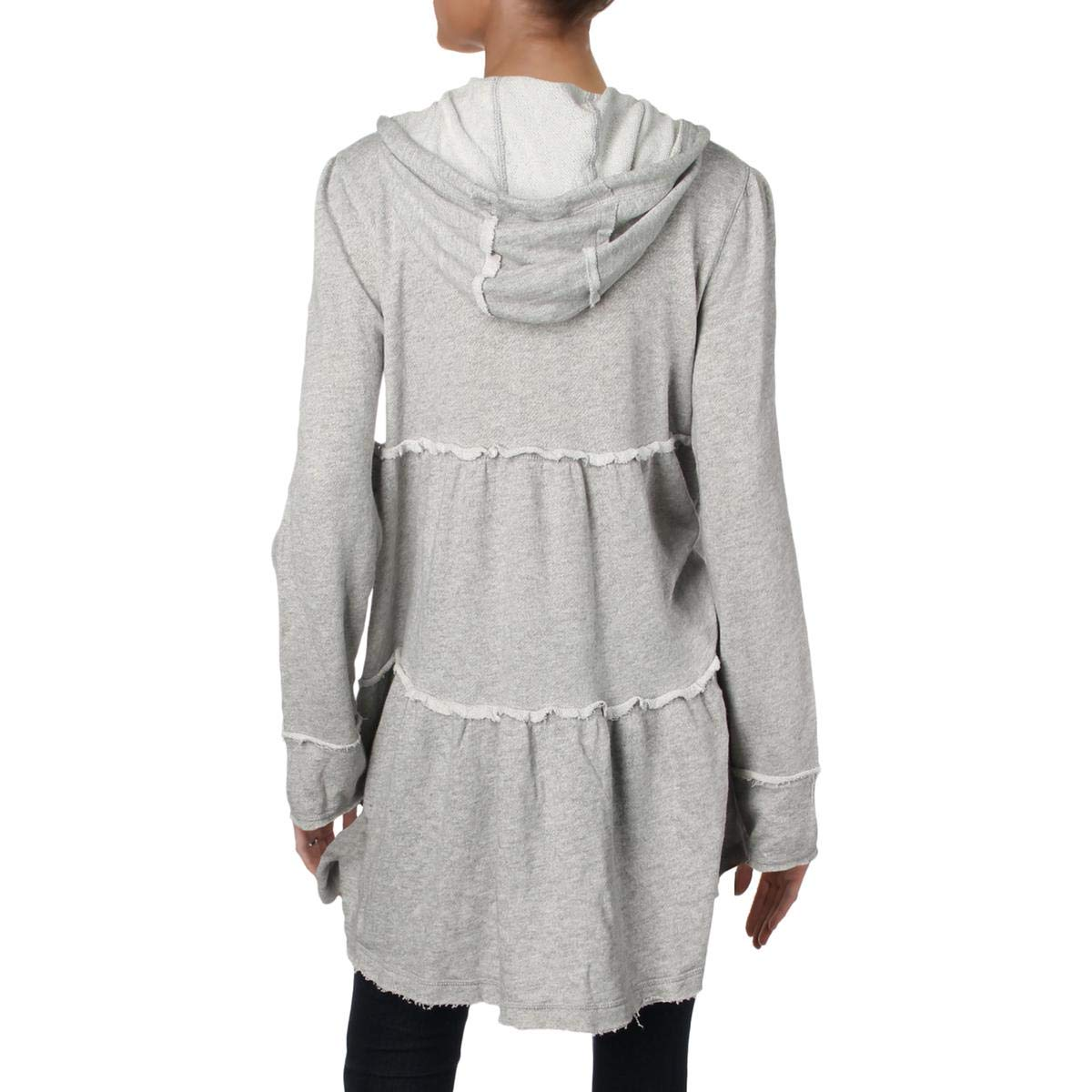 Free People Womens Raw-Edge Mid-Length Hoodie Gray M