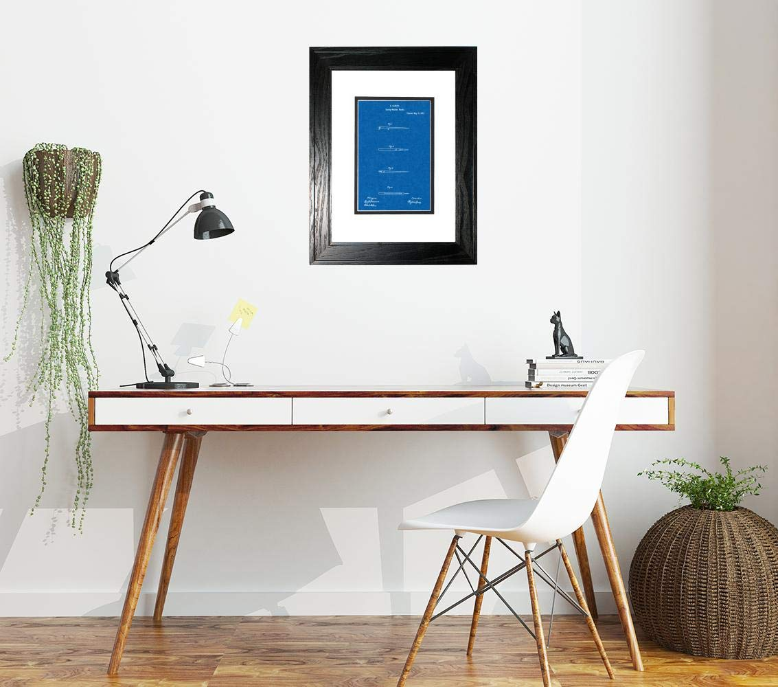 Sewing Needle Patent Art Blueprint Print in a Black Pine Wood Frame with a Double Mat (13'' x 19'') M15827 by Frame a Patent (Image #2)