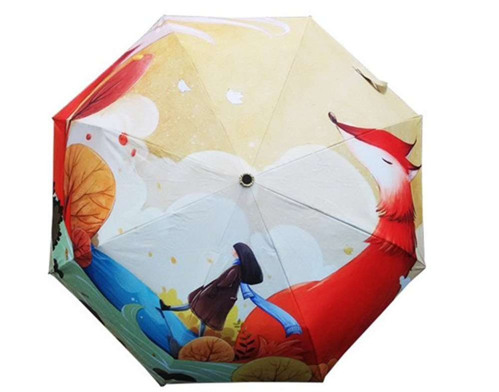 Amazon.com : Katoot@ Original little girl painting umbrella rain sun women silver coating sombrillas paraguas plegable mujer : Garden & Outdoor