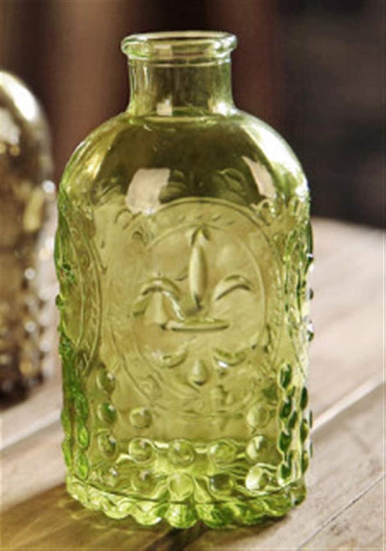 Floreros decorativos Jarrón retro tallado Botella de corcho Botella de cristal Jarrón de mesa con corcho jarrón decorativo (Color : Green)