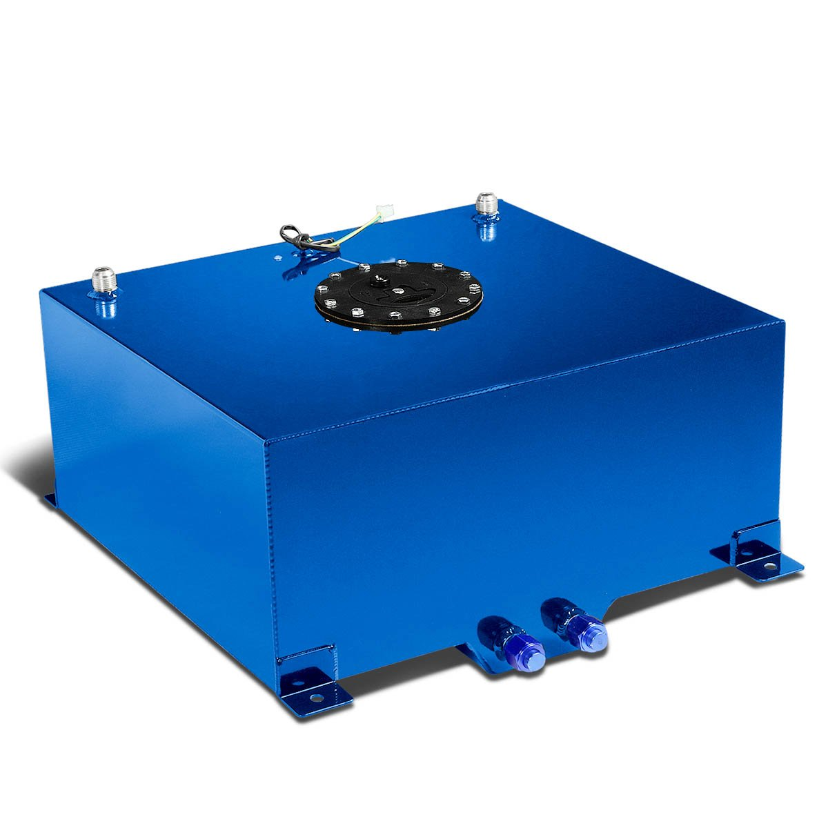 5-Gallon Blue Aluminum Gas Tank w//Level Sender /& Silver Cap+12 inches Silver Fuel Line+Fittings
