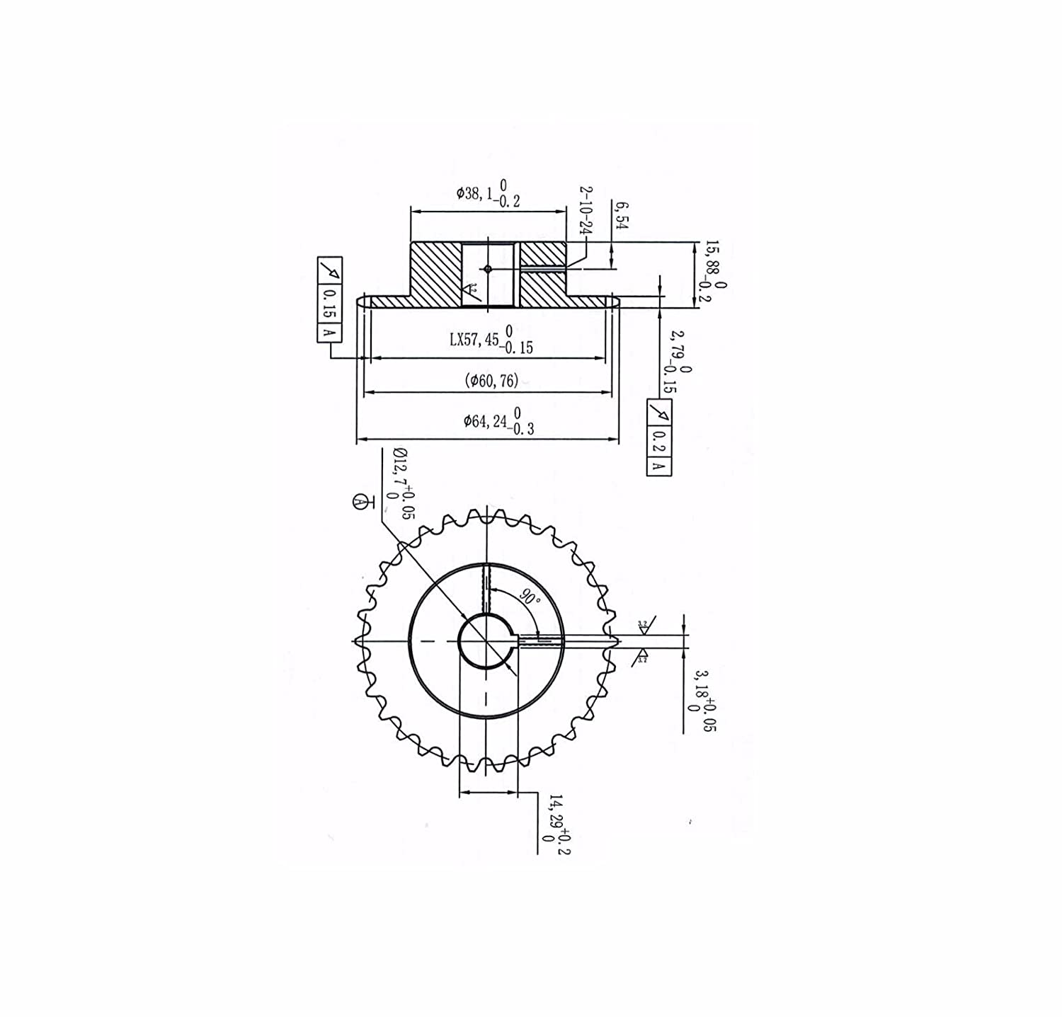 25B30H-1//2 Bore 30 Tooth B Type Sprocket for 25 Roller Chain
