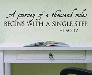 Wall Decal Letters Lao Tzu A Journey of Thousand Miles Begins with a Single Step-Office Inspirational Motivational Achievement Success-Vinyl Quote Design Sticker Graphic Saying Art Mural Bedroom Decor