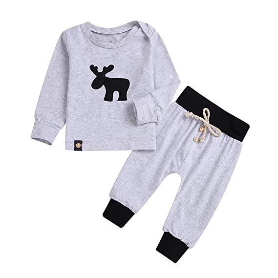d1600e17b1986 Infant Baby Kids Boys Deer Print Pullover Tops Pants Trousers ...