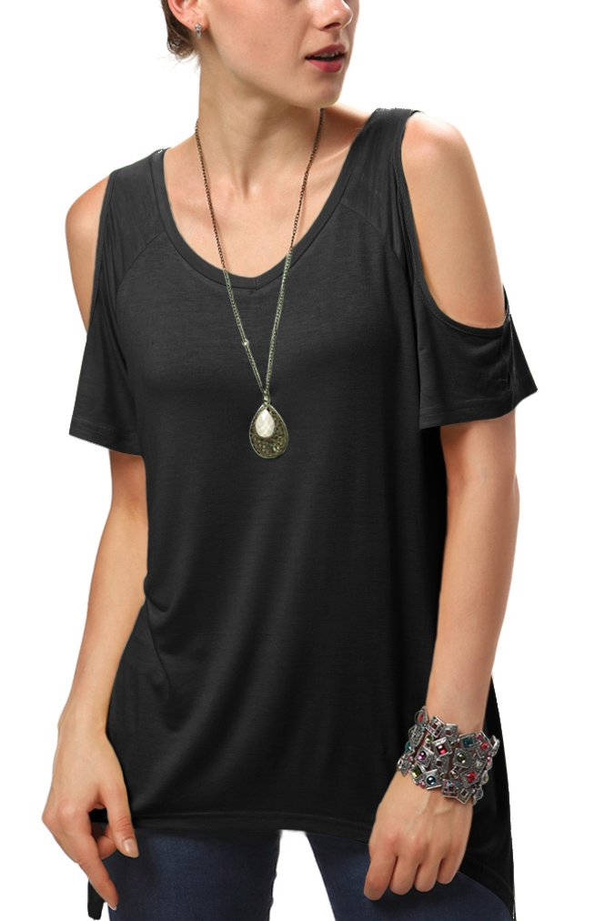 Urban CoCo Women's Vogue Shoulder Off Wide Hem Design Top Shirt - X-Large - Black by Urban CoCo (Image #2)