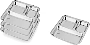 King International 100% Stainless Steel 3 In 1 Three Compartment Divided Dinner Plate, Set Of 4 Pieces