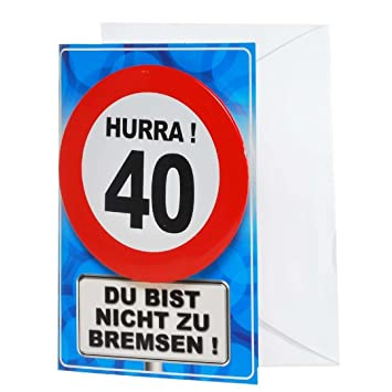 Giant Button Birthday Card Happy 40th Traffic Sign Amazoncouk Office Products