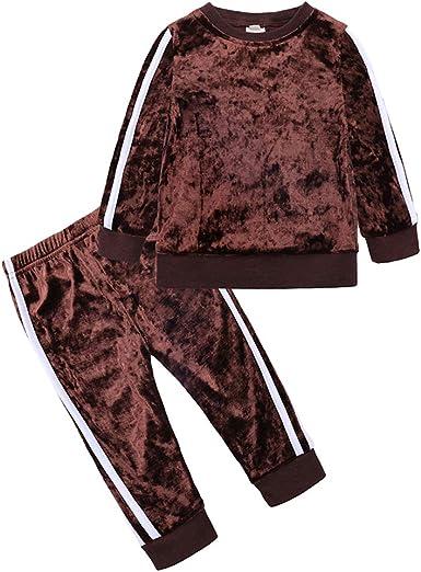 Boys Girls 2Pcs Velvet Tracksuit Outfit Set Toddler Kids Long Sleeve Sweatshirt Top Pants
