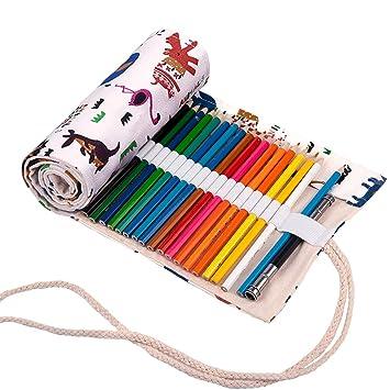 Abaría - Bolso para lápices, estuche enrollable para 36 lapices colores, portalápices de lona, bolsa organizador lápices para infantil adulto, patrón ...