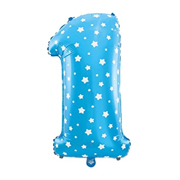 Cotigo– Globo Número 1 de Foil Color Azul con Estrella para Fiestas de Cumpleaños 40cm de Alto