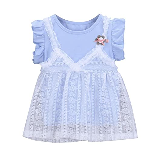 4c6780349 Hatoys Cute Floral Ruffles Lace Dress,Baby Girls Princess Tutu Dresses  Sundress Outfit (0