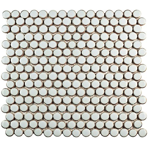 SomerTile FKOMPR40 Penny Porcelain Mosaic Floor and Wall Tile, 12'' x 12.625'', Silk White/Brown by SOMERTILE