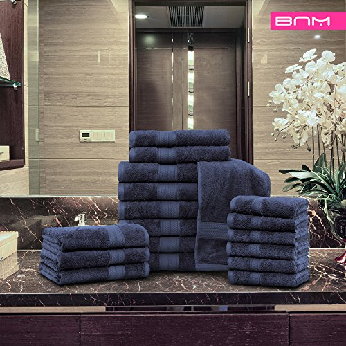 Rayon from Bamboo and Cotton, 18-Piece Bathroom Towel Set, Highly Absorbent, Super Velvety Soft, Dobby Checkered Dual Border, River Blue by Blue Nile Mills (Image #2)