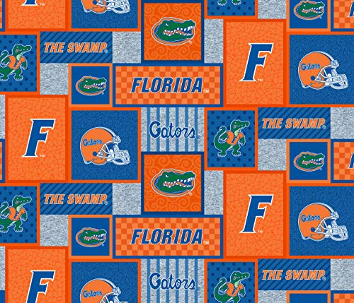 - University of Florida Fleece Blanket Fabric-Florida Gators Fleece Fabric with New Patch PATTTERN-Sold by The Yard