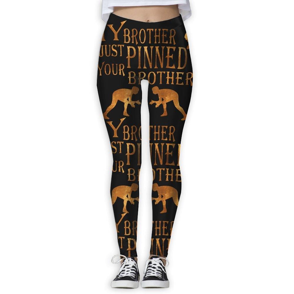 WomensPowerYogaPants My Brother Just Pinned Wrestling Women's Yoga Pants Fitness Power Flex Leggings Digital Printed