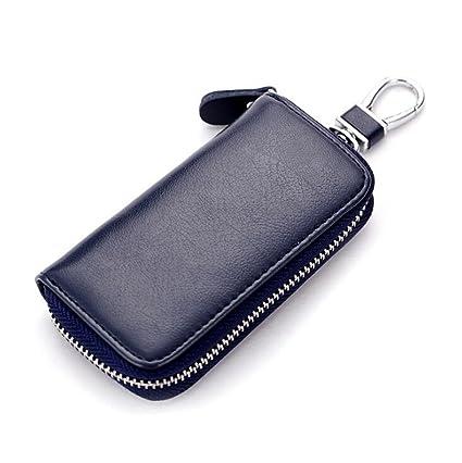 DcSpring Estuche de llaves Cuero Genuino Cartera de Llavero Moto Piel Anillo Clave Cremallera para Unisexo Mujer Hombre (Azul)