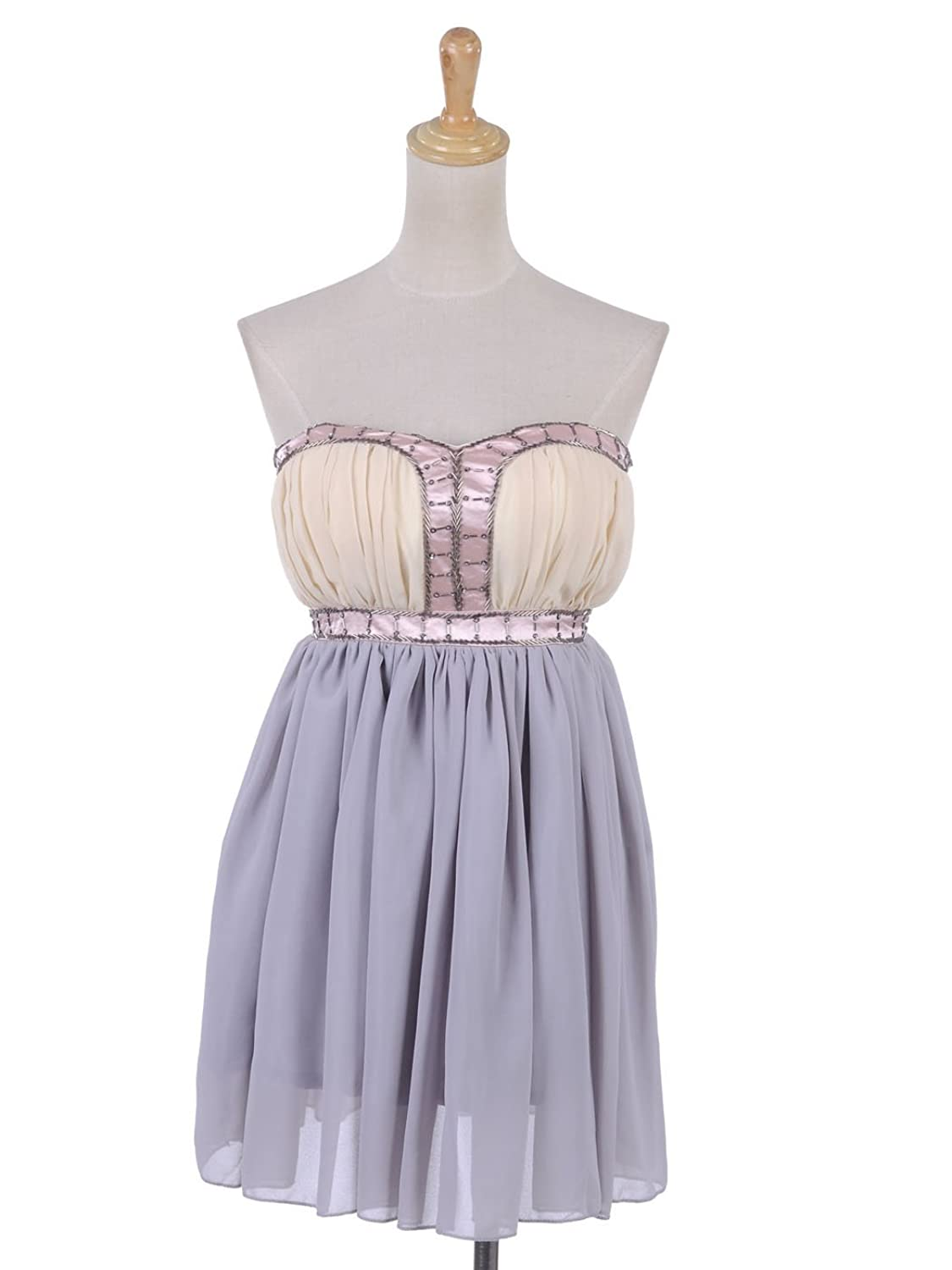 Anna-Kaci S/M Fit Yellow and Grey Beading and Pink Ribbon Trim Pleated Dress
