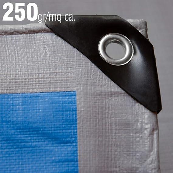 Multiuso Grigio VERDELOOK Telo occhiellato in polietilene 10x6 m grammatura 180 g//m/² per Copertura e stoccaggio Merce