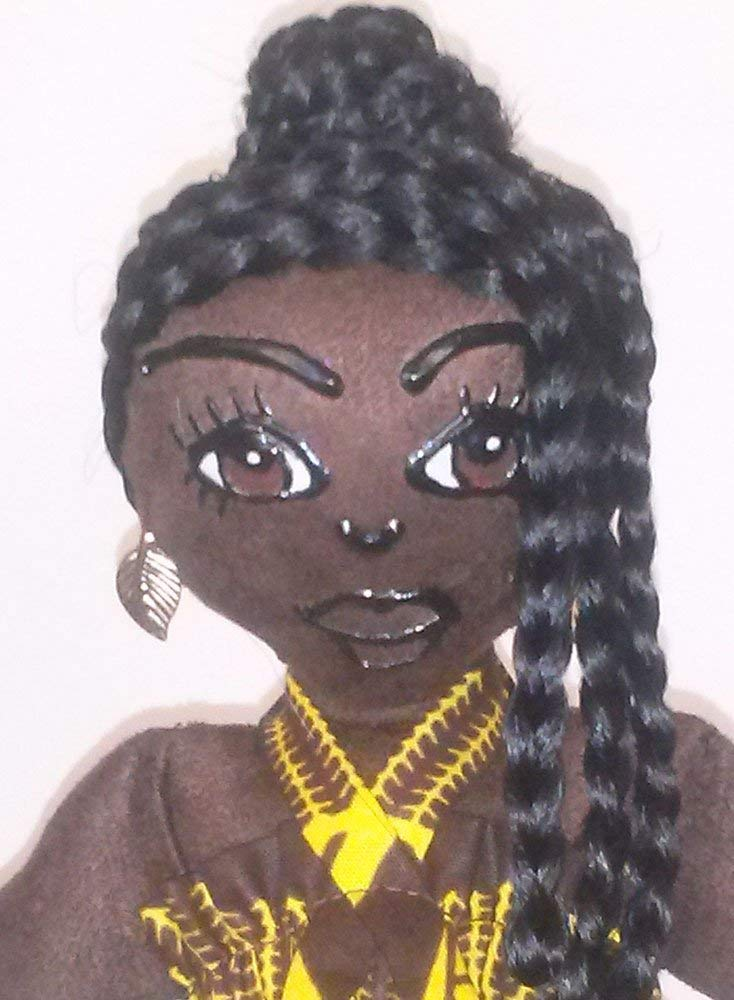 African American Doll Handcrafted Black Doll Natural Hair Styles Ethnic Doll 11 inch Doll African Inspired Collectible Doll Hand Painted Multicultural Doll Black Doll Maker