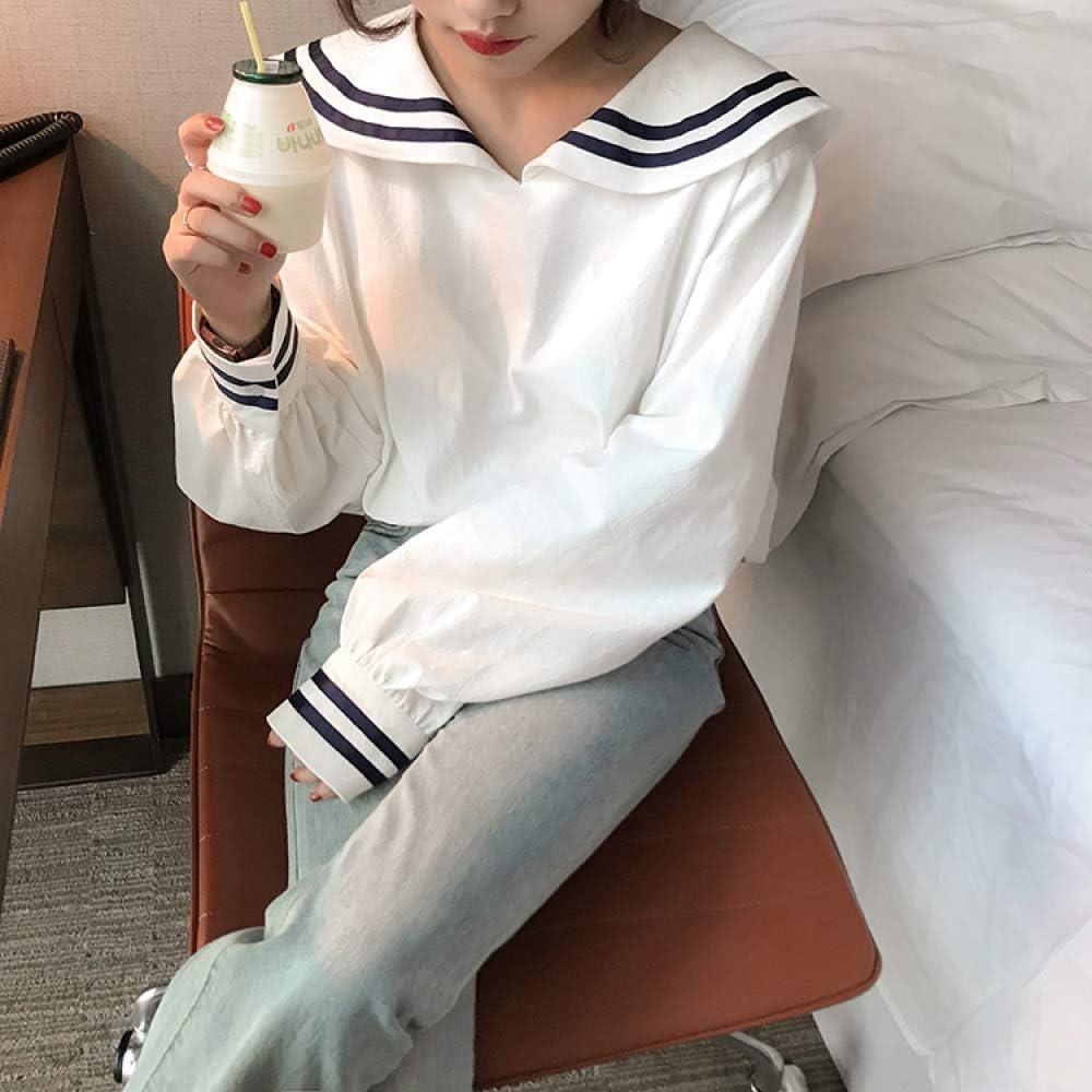 ZZAI Camicie da Donna - Camicie Larghe A Righe - Top A Manica Lunga Carini,Blue White
