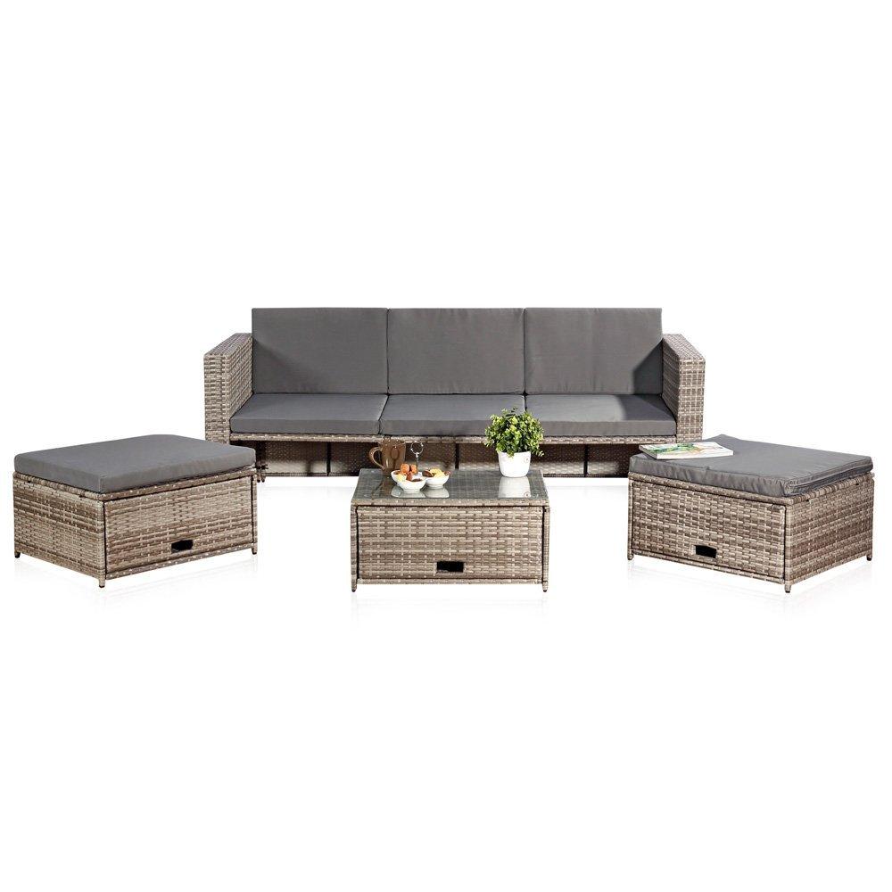 Melko Lounge Gartenset, Polyrattan, Sofa-Garnitur mit Glastisch, inklusive Kissen, Grau