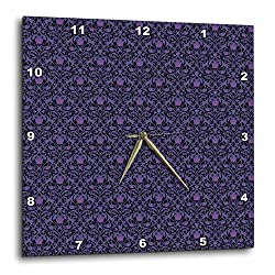 3dRose Anne Marie Baugh - Patterns - Elegant Purple and Black Diamond Pink Rose Damask - 10x10 Wall Clock (dpp_283257_1)