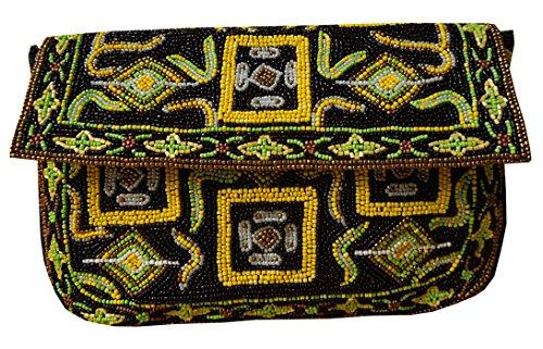 Pochette grande con motivo tribale in rilievo ricamato a mano da donna di Spice Art