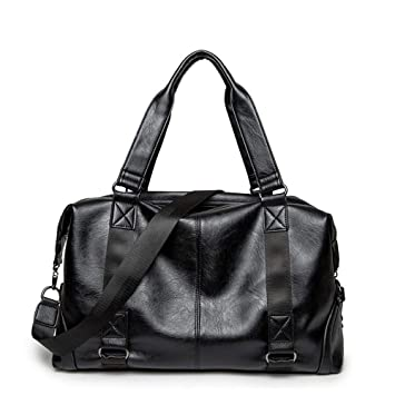 XibeiTrade Vintage Men Duffel Bag PU Leather Oversized Gym Weekender Travel Overnight Handbag Black Black