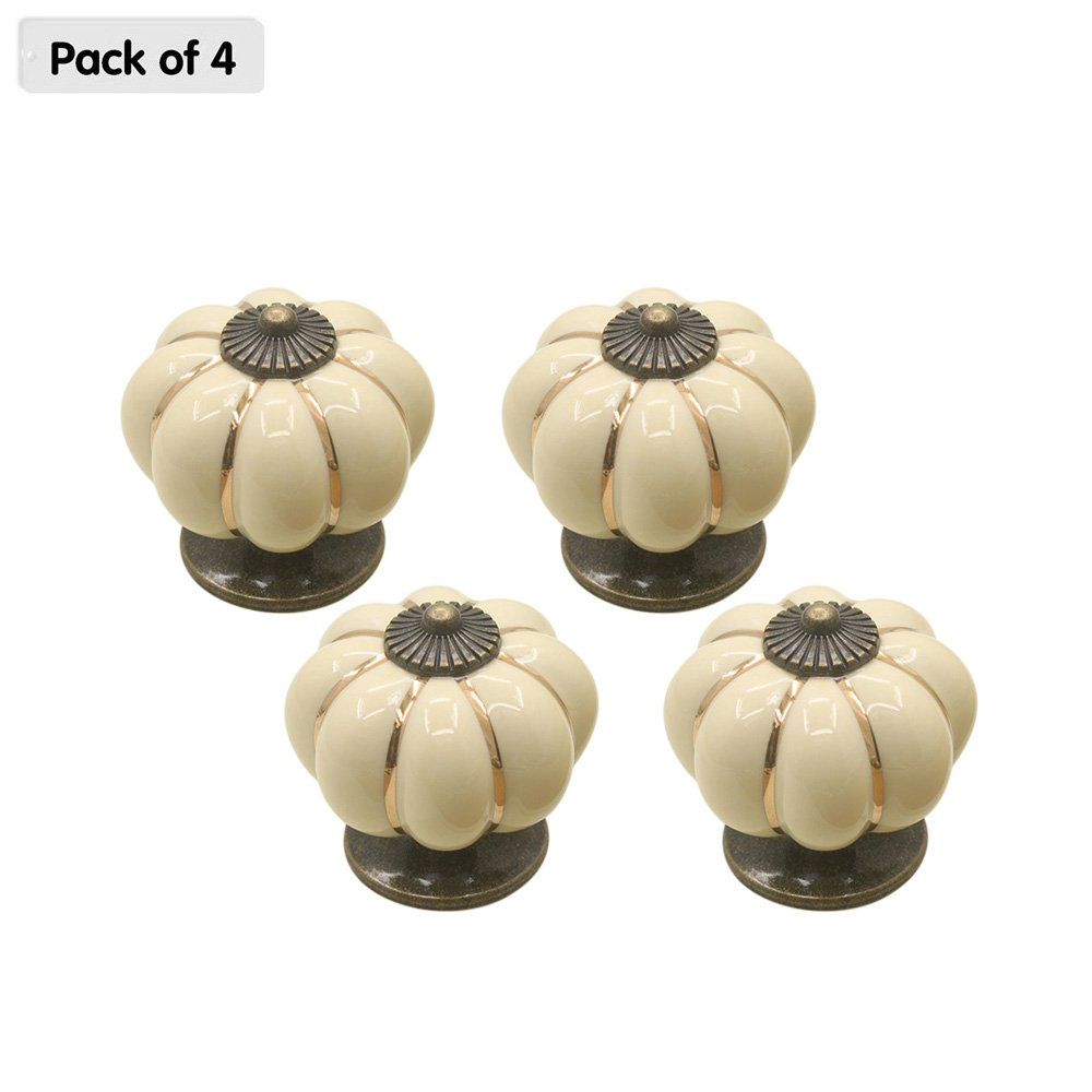 Zhi Jin 4Pcs Village Pumpkin Cabinets Knobs Handle Ceramic Drawer Knob Pulls Set Office Wardrobe Beige