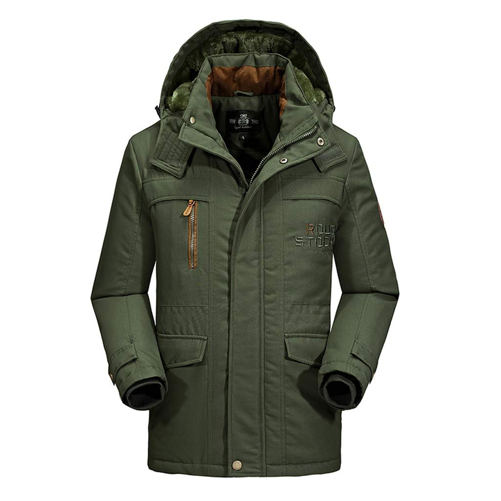 Dermanony Men's Winter Warm Coat Casual Letter Printed Pockets Cotton-Padded Jacket Plush Lining Hooded Outwear Green by Dermanony _Coat