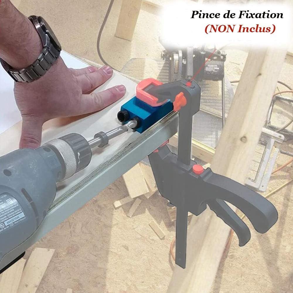 Gasea 15 Degr/és Kit de Gabarit de Trou de Poche /à Angle Avec Adaptateur de Trou 6//8//10mm Pour Guide de Per/çage dAngle /à Bois