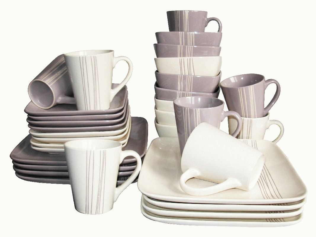 32 Piece Cream and Mocha Embossed Stripe Square Dinner Set Amazon.co.uk Kitchen u0026 Home & 32 Piece Cream and Mocha Embossed Stripe Square Dinner Set: Amazon ...