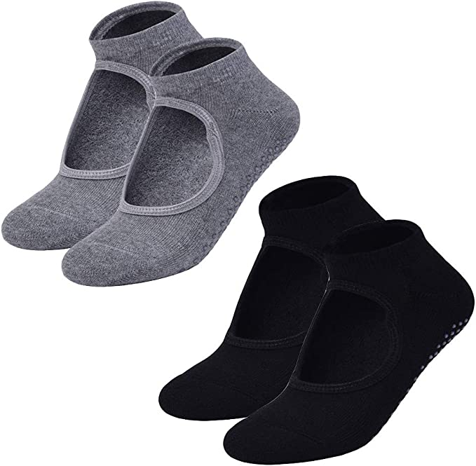 Amazon.com: 2 pares de calcetines de yoga antideslizantes ...