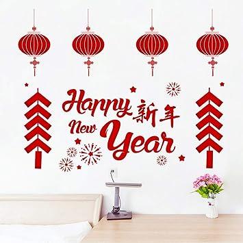 Amazon Com Happy New Year Red Lantern Home Decor Living