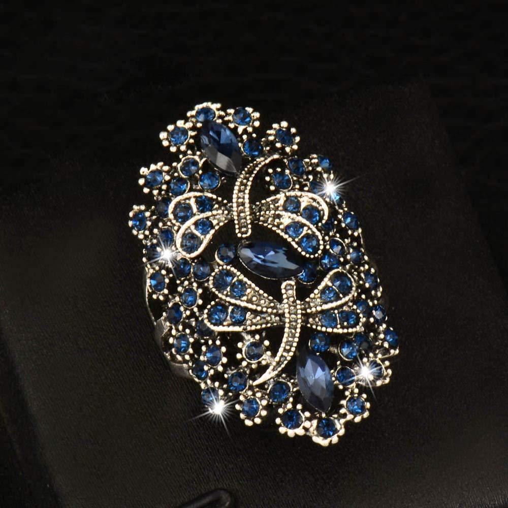 Ploymanee Jewelry Vintage Big Hollow Blue Rhinestone Dragonfly Rings Women Antique Silver Plated 7