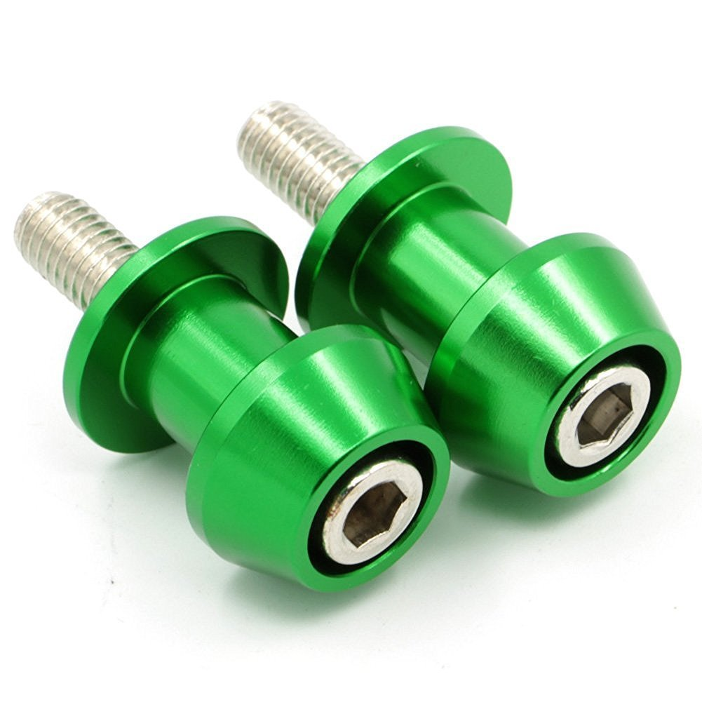 Alpha Rider 10MM CNC Billet Swing Arm Spools Sliders Stand Screws for Kawasaki ER-6n 2009 2010 Green Motofans