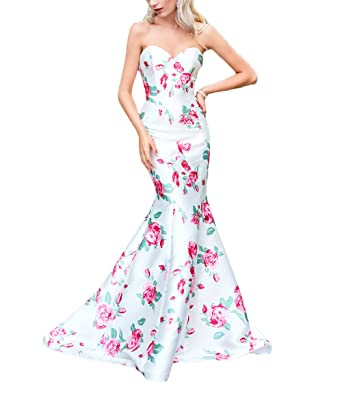 43891443814 Z Sexy Sweetheart Spring Floral Princess Long Mermaid Prom Dresses Formal  Evening Party Gowns