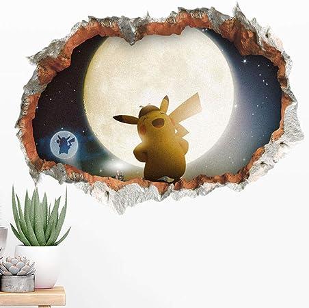 Gvc 3d Detective Pikachu Film Mur Trou Autocollants Pour Enfants Chambres Home Decor Salon Decoration Decoration Accessoires Pvc Murale Stickers Muraux Amazon Fr Cuisine Maison
