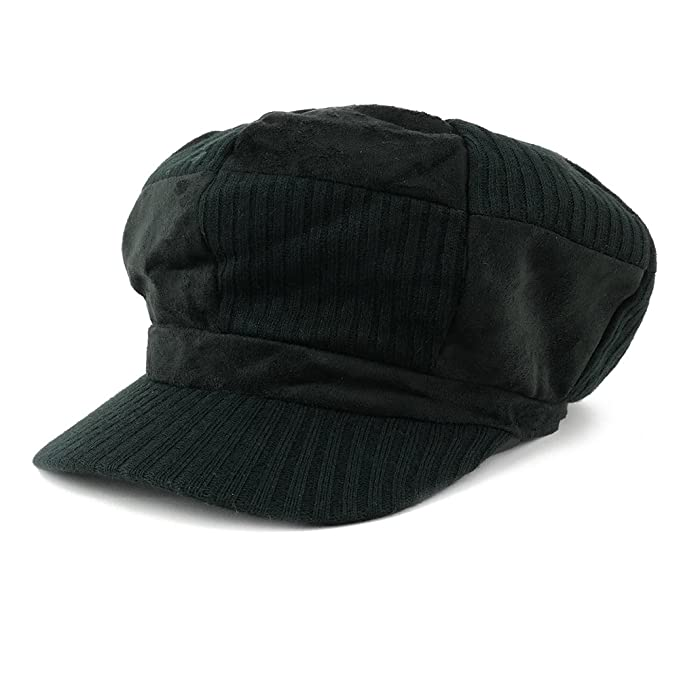 Knit Suede Checker Pattern Newsboy Cap Black At Amazon Mens