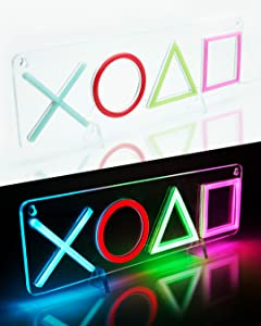 Playstation Light Up Sign Gaming Decor - Free Poster - Gamer Room Decor - Gaming Setup Accessories - Gaming Room Decor Neon Lights Signs - Boys Room Decor Gaming Stuff Led Sign - Video Game Room Decor
